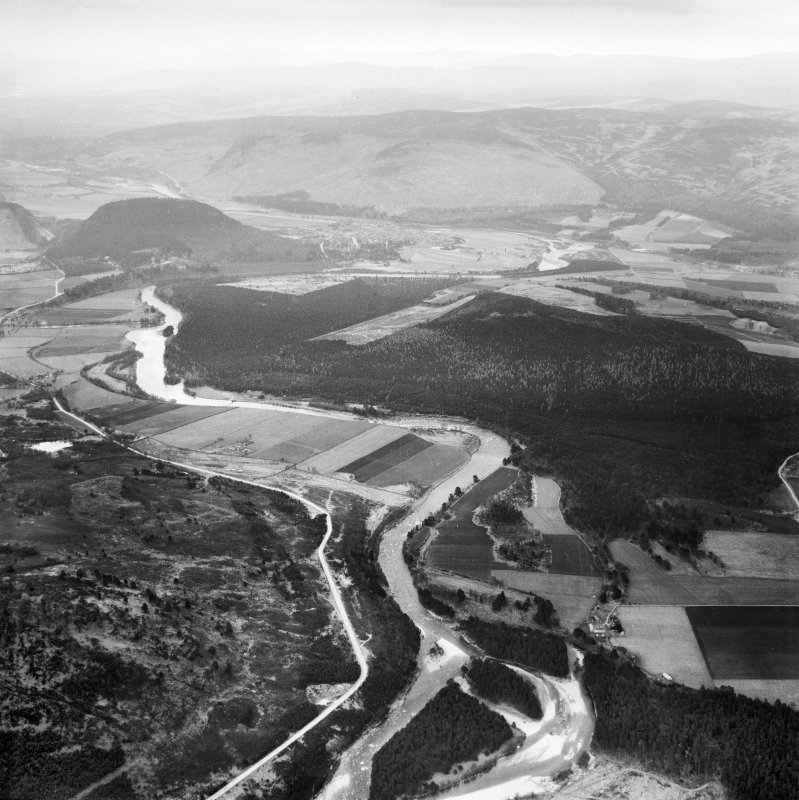 Dalliefour Wood and River Dee, Balmoral Estate.  Oblique aerial photograph taken facing east.