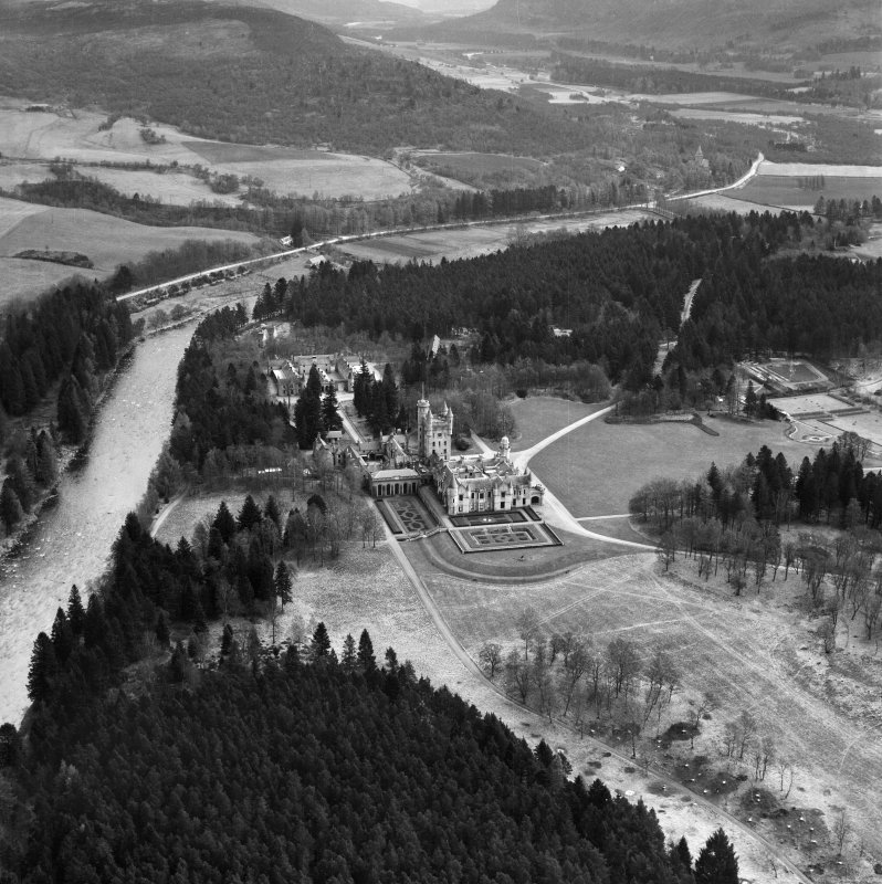 Oblique aerial view of Balmoral Castle and Estate looking east.