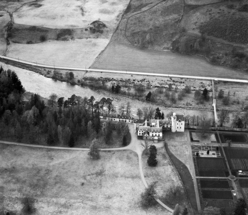 Abergeldie Castle, Balmoral Estate.  Oblique aerial photograph taken facing north.