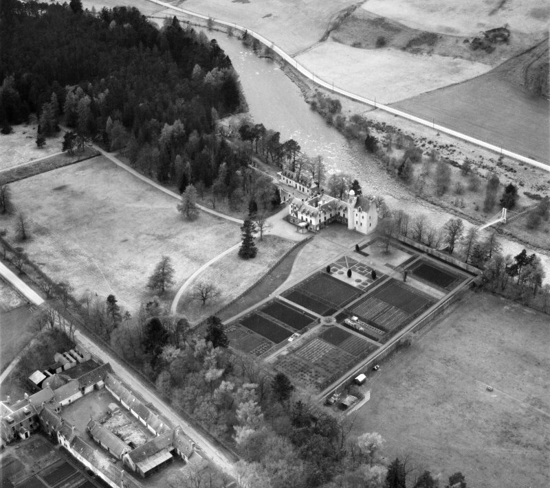 Abergeldie Castle and Walled Garden, Balmoral Estate.  Oblique aerial photograph taken facing west.
