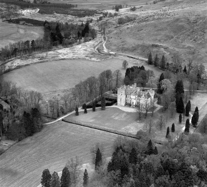 Aboyne Castle.  Oblique aerial photograph taken facing north.