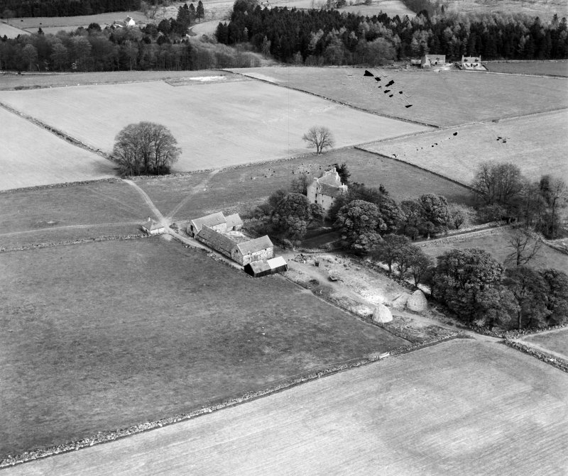 Tilquhillie Castle, Banchory.  Oblique aerial photograph taken facing north.