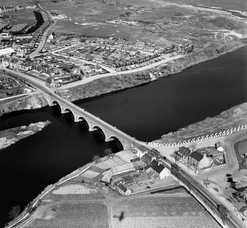 Aberdeen, general view, showing Bridge of Don and Donmouth Road.  Oblique aerial photograph taken facing north-east.