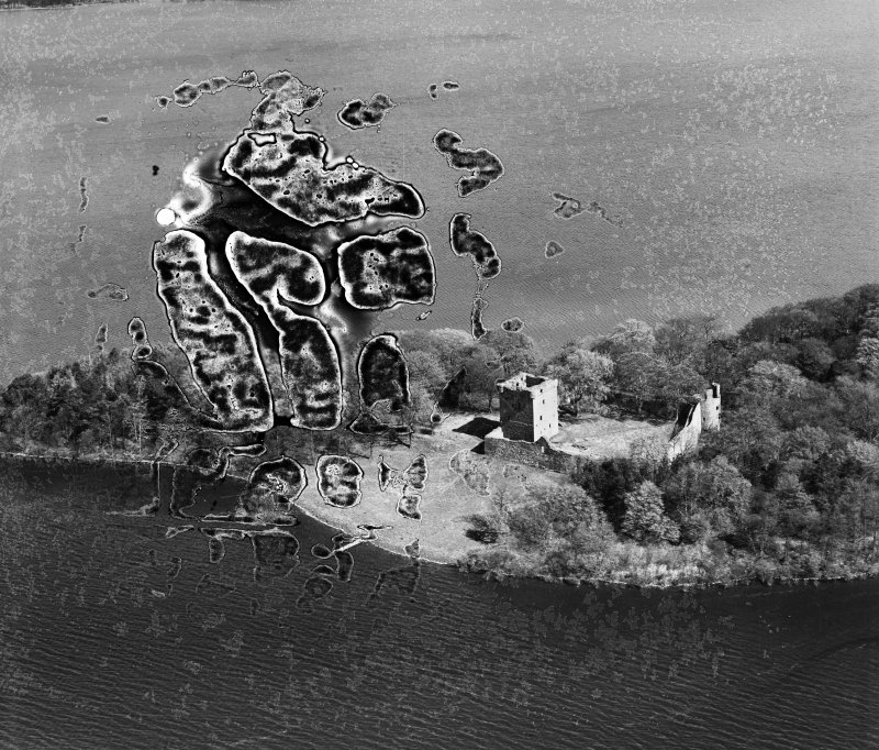 Lochleven Castle, Castle Island, Loch Leven.  Oblique aerial photograph taken facing north-east.  This image has been produced from a damaged negative.