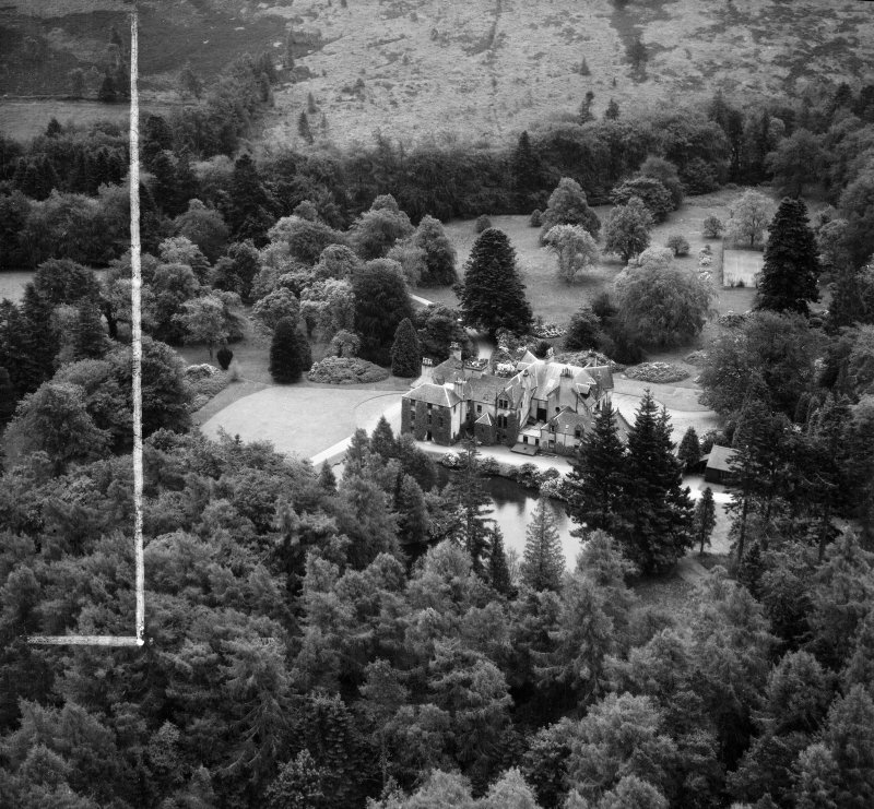 Knockespock House, Clatt.  Oblique aerial photograph taken facing south.  This image has been produced from a crop marked negative.
