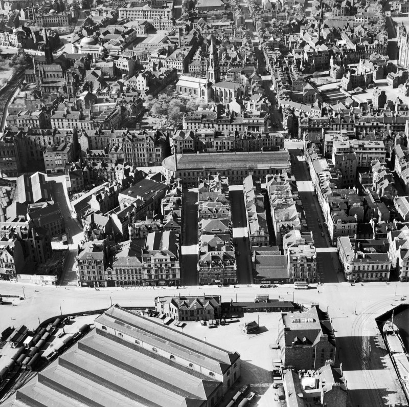 Aberdeen, general view, showing Waverley Hotel, Guild Street and Kirk of St Nicholas, Union Street.  Oblique aerial photograph taken facing north.