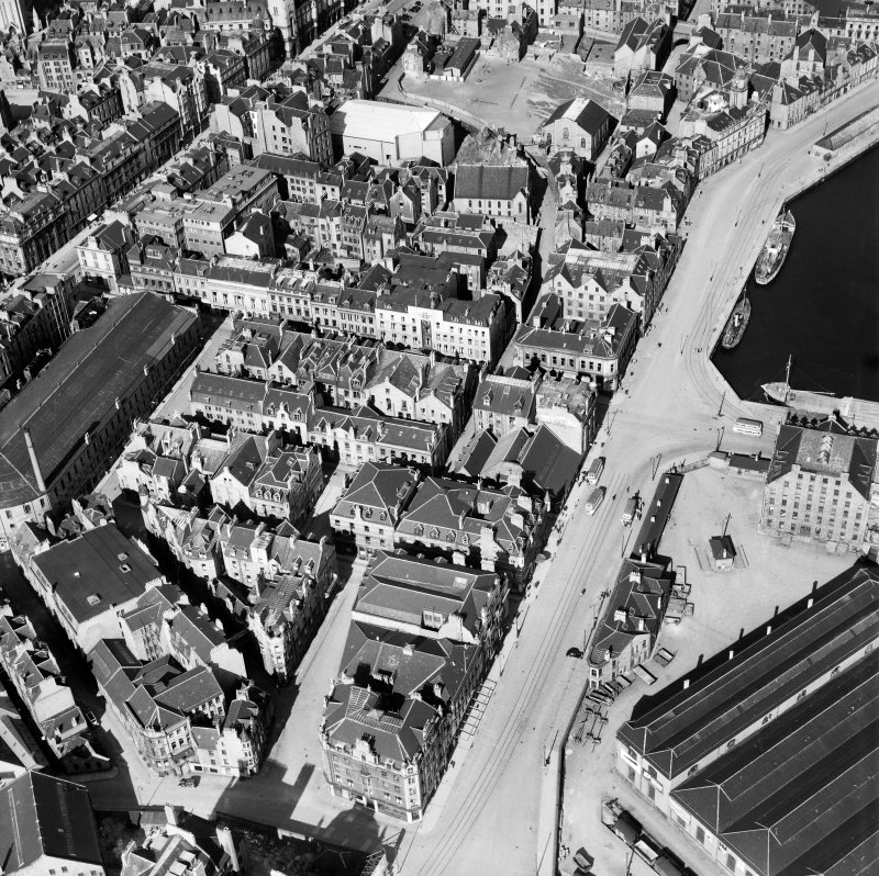 Aberdeen, general view, showing Waverley Hotel, Guild Street and Market Street.  Oblique aerial photograph taken facing north-east.