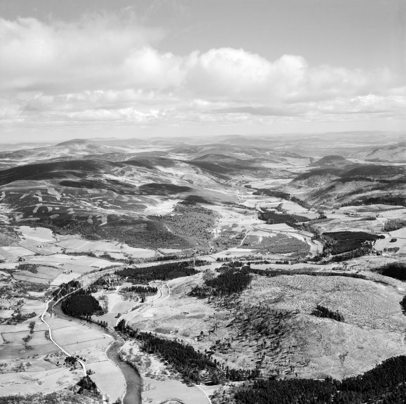 River Dee, general view, showing Balmoral Castle and Craig Gowan, Balmoral Estate.  Oblique aerial photograph taken facing east.