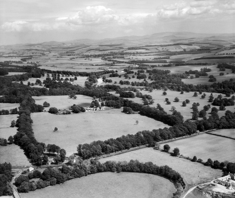 Harestanes and Monteviot House.  Oblique aerial photograph taken facing east.