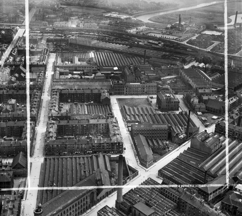 Glasgow, general view, showing David and John Anderson Ltd. Atlantic Mills, Walkinshaw Street and Bernard Street.  Oblique aerial photograph taken facing east.  This image has been produced from a crop marked negative.
