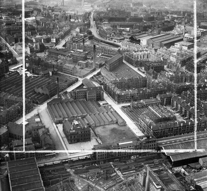 Glasgow, general view, showing David and John Anderson Ltd. Atlantic Mills, Walkinshaw Street and Baltic Street.  Oblique aerial photograph taken facing north-west.  This image has been produced from a crop marked negative.