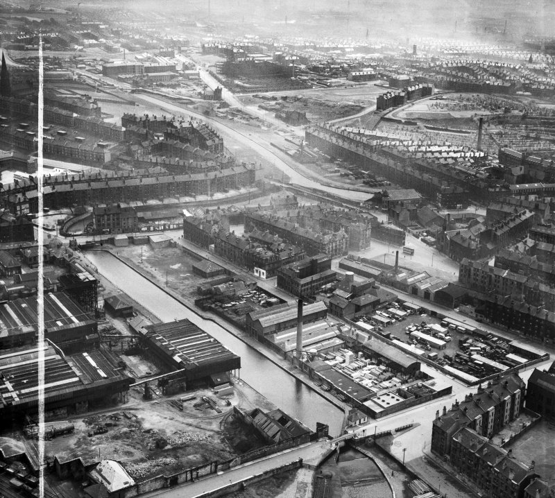 Glasgow, general view, showing A and G Paterson St Rollox Sawmills and Monkland Canal.  Oblique aerial photograph taken facing south-east.  This image has been produced from a crop marked negative.