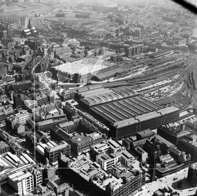Glasgow, general view, showing College Goods Station and High Street Goods Station.  Oblique aerial photograph taken facing east.  This image has been produced from a crop marked negative.