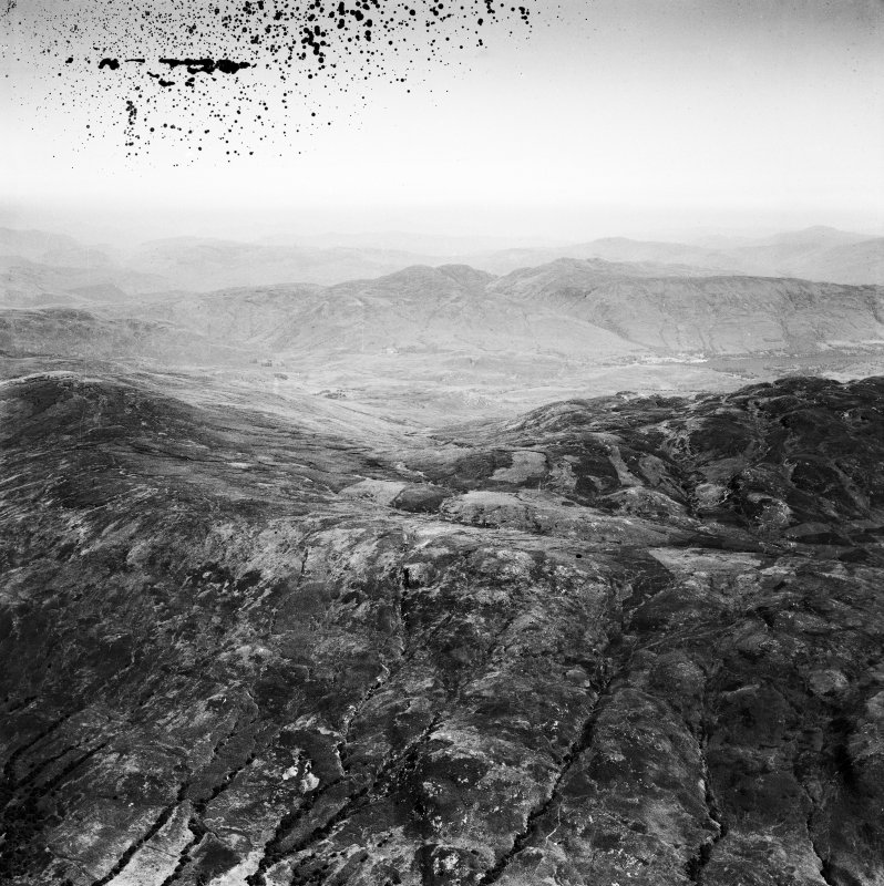 Loch Ard  Forest, general view showing Beinn Bhreac, Loch Ard and Ben Venue. Oblique aerial photograph taken facing north-east. This image has been produced from a damaged negative.