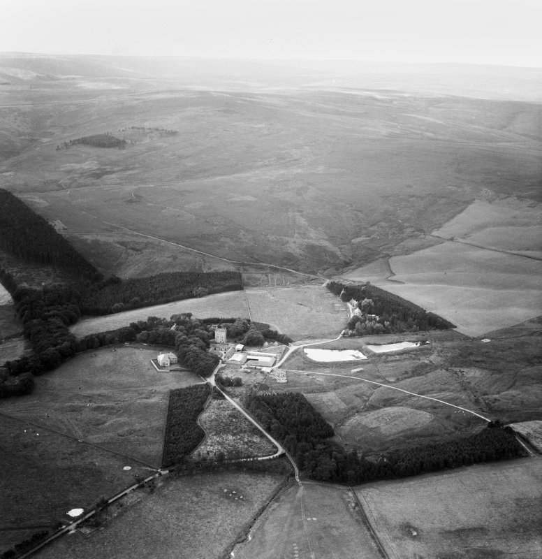 Cranshaws Castle and grounds.  Oblique aerial photograph taken facing south-west.  This image has been produced from a crop marked negative.