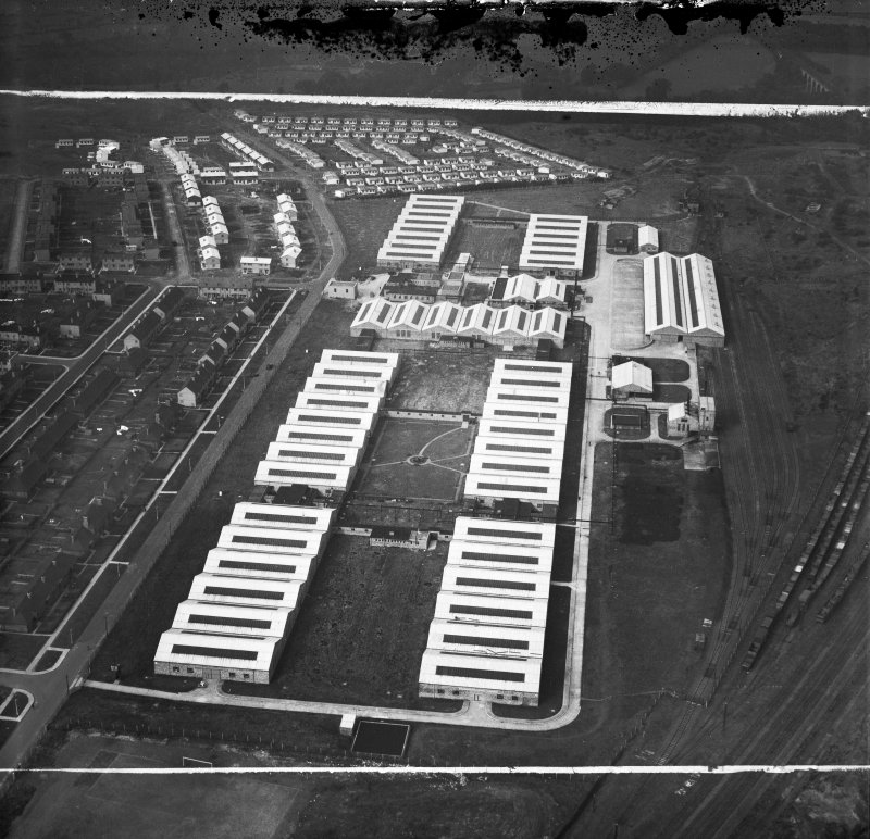 Newton Victor Ltd. Works, Watling Street, Motherwell.  Oblique aerial photograph taken facing west.  This image has been produced from a damaged and crop marked negative.