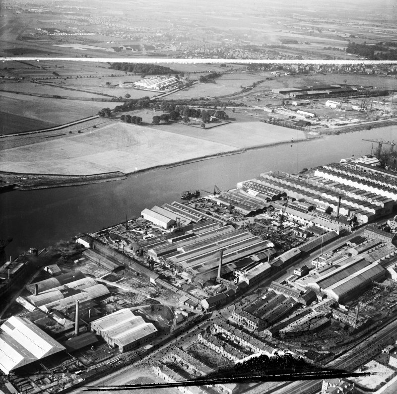 Glasgow, general view, showing Mechans Ltd. Scotstoun Ironworks, South Street and Harland and Wolff Diesel Engine Works, Balmoral Street.  Oblique aerial photograph taken facing south-west.  This imag ...