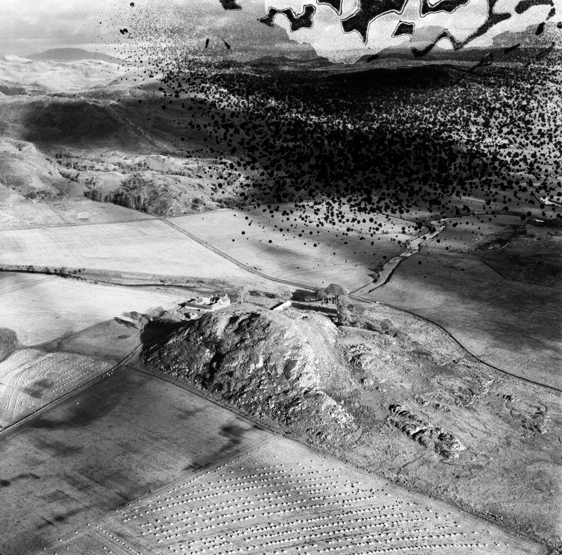 Dunadd, Kilmichael Glassary.  Oblique aerial photograph taken facing east.  This image has been produced from a damaged negative.