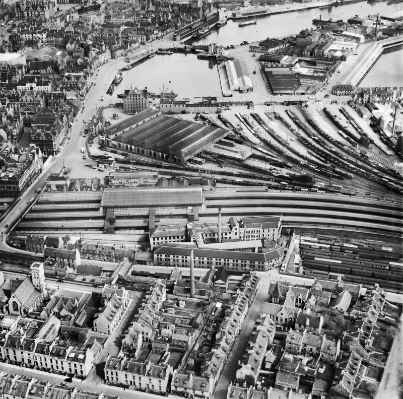Aberdeen, general view, showing Wiggins Teape Ltd. Pirie Appleton and Co. Paper Mills, College Street and Upper Dock.  Oblique aerial photograph taken facing north-east.