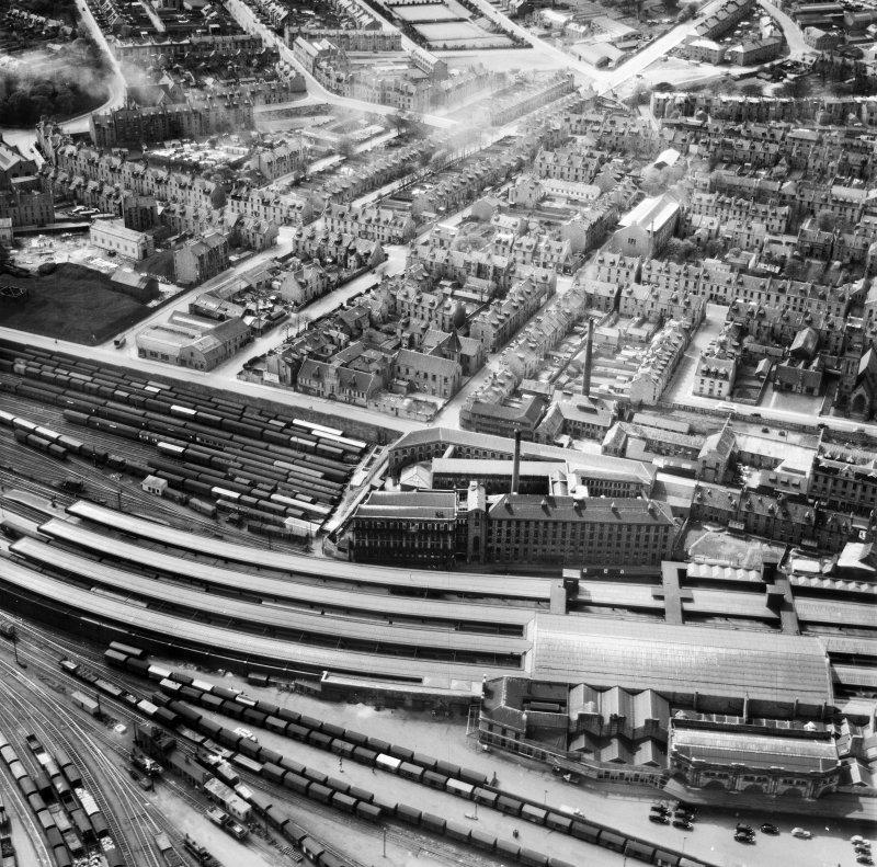 Aberdeen, general view, showing Wiggins Teape Ltd. Pirie Appleton and Co. Paper Mills, College Street and Springbank Terrace.  Oblique aerial photograph taken facing south-west.