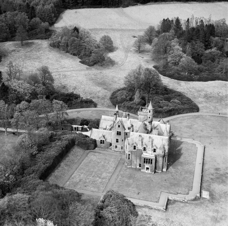 Crawfordton House School, Moniaive.  Oblique aerial photograph taken facing north.