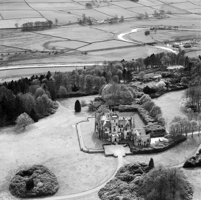 Crawfordton House School, Moniaive.  Oblique aerial photograph taken facing south.
