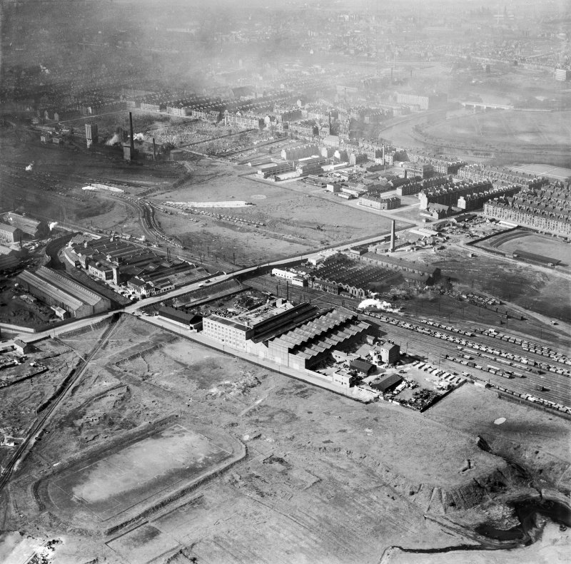 Glasgow, general view, showing Alley and MacLellan Ltd. Sentinel Works, Jessie Street and Polmadie Road.  Oblique aerial photograph taken facing north.