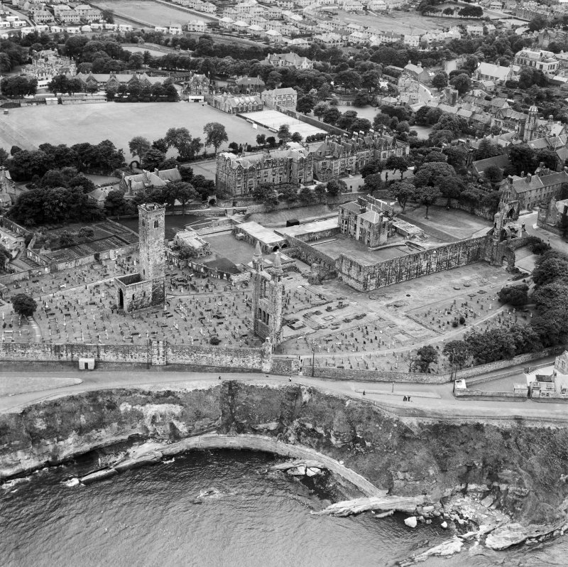 St Andrews Cathedral and Priory, The Pends, St Andrews.  Oblique aerial photograph taken facing south-west.