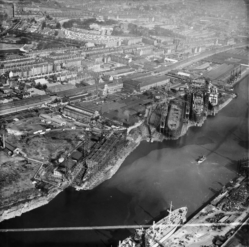 Barclay, Curle and Co. Ltd. Clydeholm Shipyard, South Street, Glasgow.  Oblique aerial photograph taken facing east.  This image has been produced from a crop marked negative.
