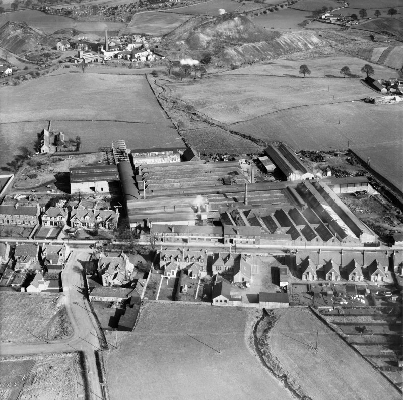 Cruikshank and Co. Ltd. Denny Iron Works, Glasgow Road, Denny.  Oblique aerial photograph taken facing east.  This image has been produced from a crop marked negative.