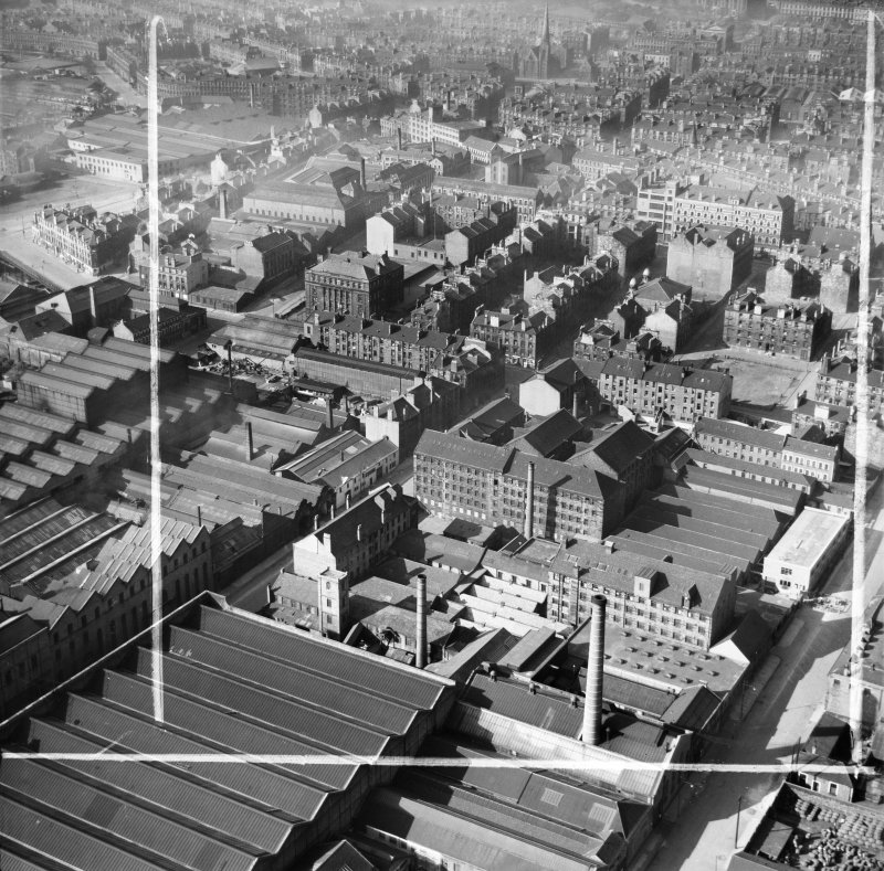 Glasgow, general view, showing Arbuckle, Smith and Co. Warehouse, Lancefield Street and Stobcross Street.  Oblique aerial photograph taken facing north.  This image has been produced from a crop marked negative.