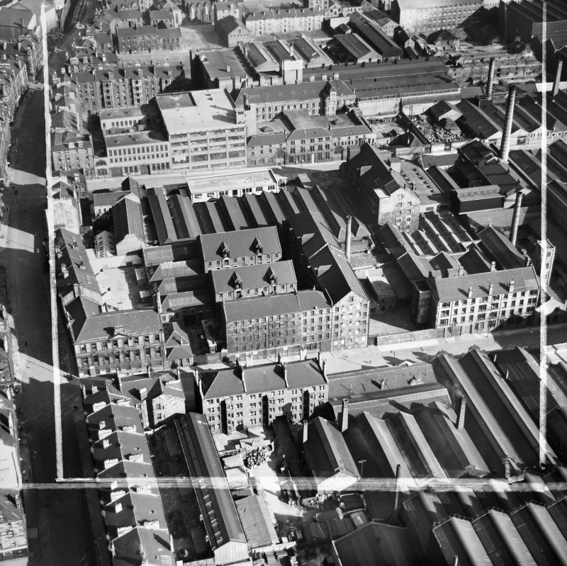 Arbuckle, Smith and Co. Warehouse, Lancefield Street and Bilsland Bakery, Hydepark Street, Glasgow.  Oblique aerial photograph taken facing east.  This image has been produced from a crop marked negat ...