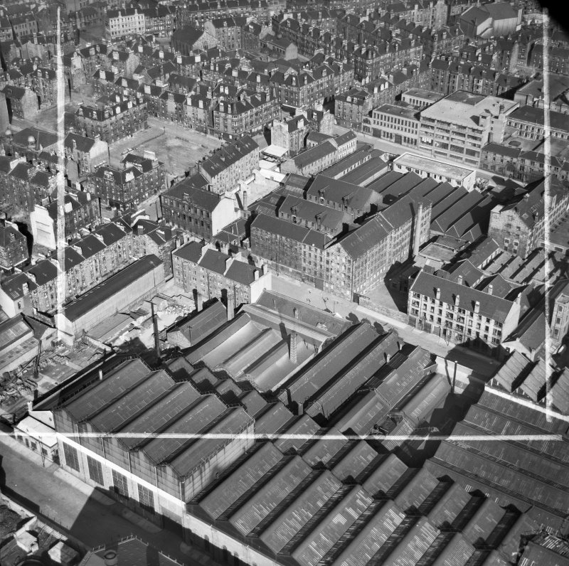 Glasgow, general view, showing Arbuckle, Smith and Co. Warehouse, Lancefield Street and Stobcross Street.  Oblique aerial photograph taken facing east.  This image has been produced from a crop marked negative.