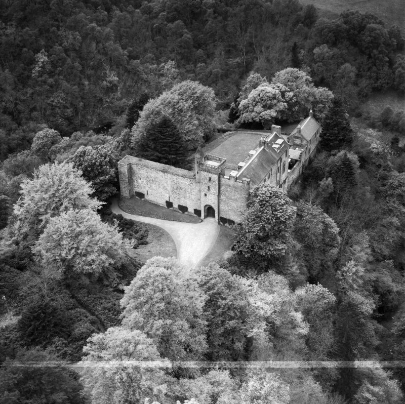 Airlie Castle.  Oblique aerial photograph taken facing west.  This image has been produced from a crop marked negative.