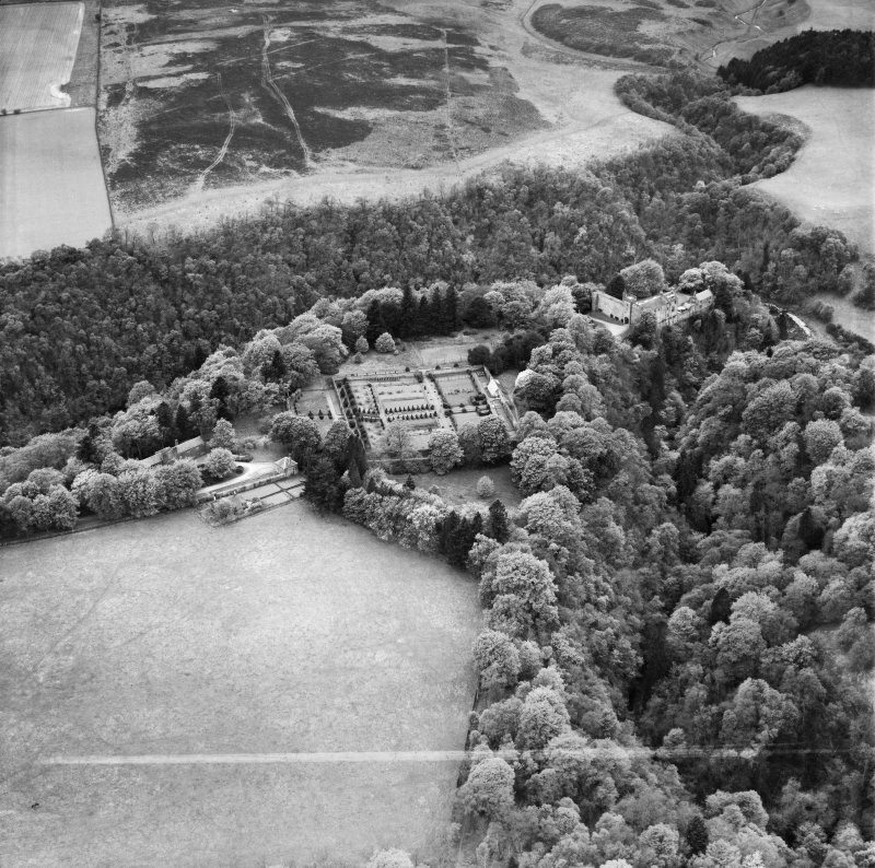 Airlie Castle and Formal Garden.  Oblique aerial photograph taken facing west.  This image has been produced from a crop marked negative.