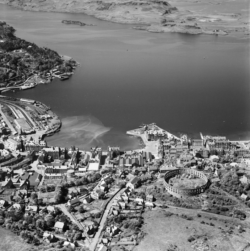 Oban, general view, showing McCaig's Tower and Oban Bay.  Oblique aerial photograph taken facing west.