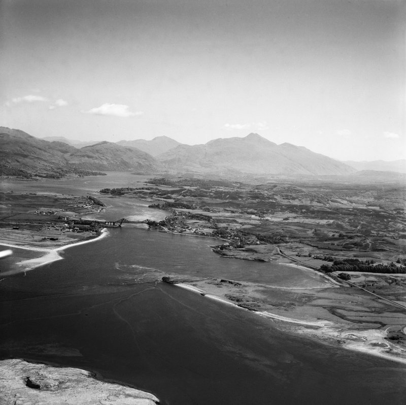Loch Etive, general view, showing Connel Bridge and Ben Cruachan.  Oblique aerial photograph taken facing east.