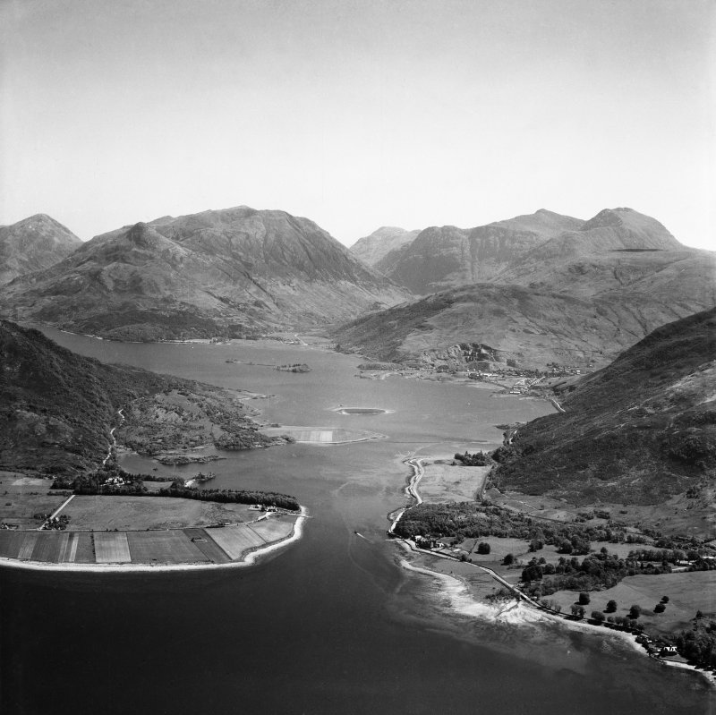 Loch Leven, general view, showing Ballachulish and Sgorr na Ciche.  Oblique aerial photograph taken facing east.