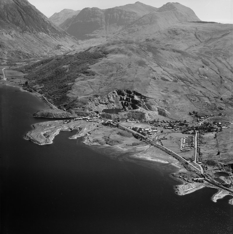 Ballachulish and Stob Coire nan Lochan.  Oblique aerial photograph taken facing east.