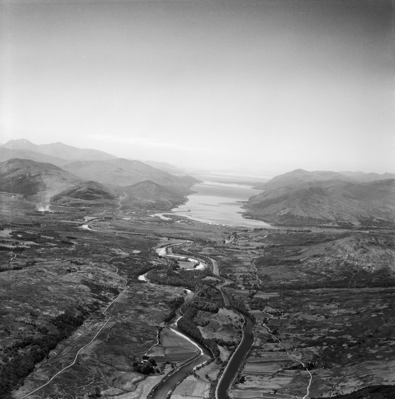 Caledonian Canal and River Lochy.  Oblique aerial photograph taken facing south-west.
