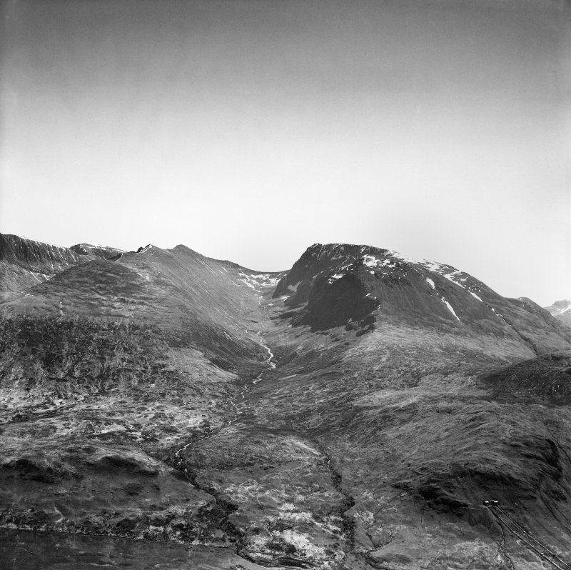 Coire Leis, Ben Nevis.  Oblique aerial photograph taken facing south-east.