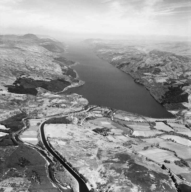Fort Augustus, general view, showing Caledonian Canal and Loch Ness.  Oblique aerial photograph taken facing north-east.