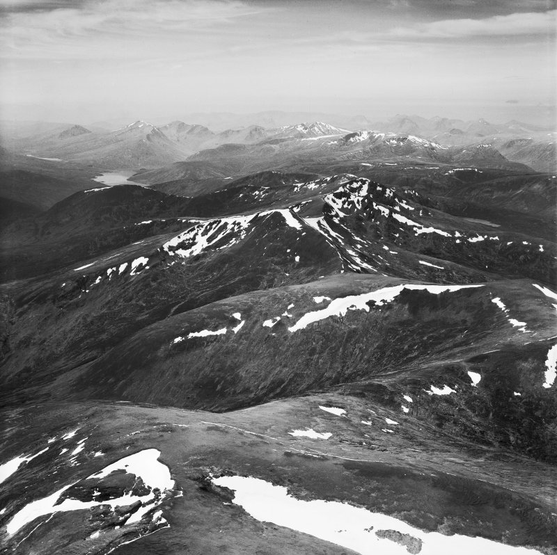 An Socach and Sgurr a' Choire Ghlais, Strathconon Forest.  Oblique aerial photograph taken facing west.