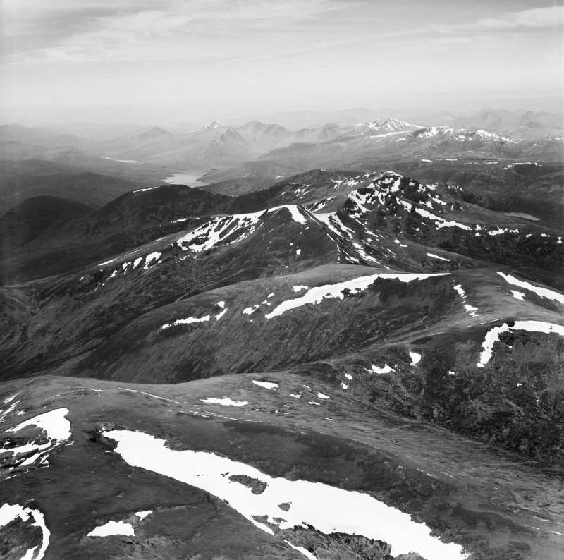 Carn nan Gobhar and Sgurr a' Choire Ghlais, Strathconon Forest.  Oblique aerial photograph taken facing west.