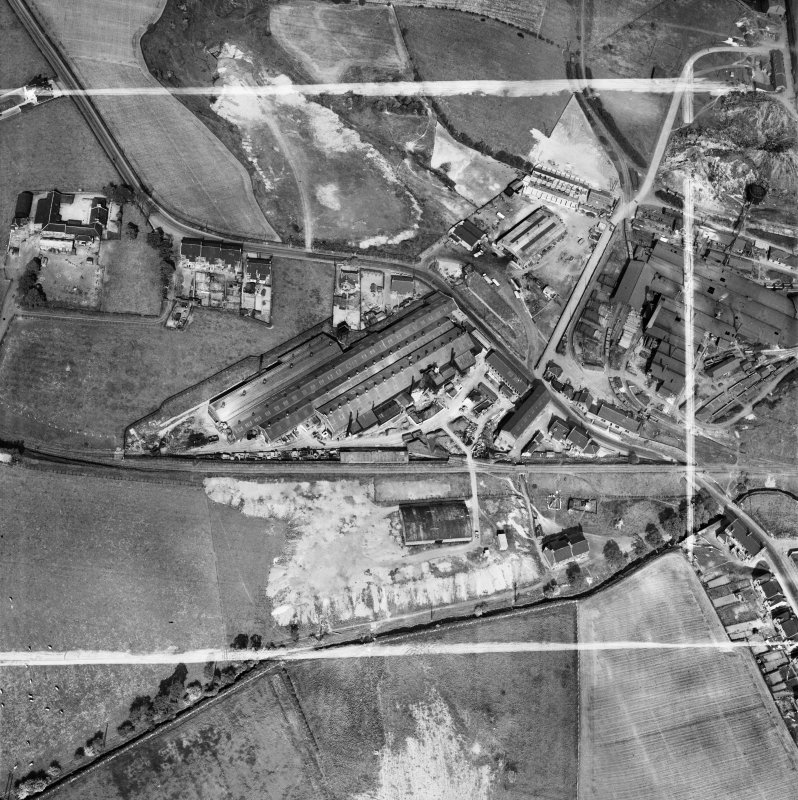 Stewarts and Lloyds Ltd. Works, Waverley Street, Coatbridge.  Oblique aerial photograph taken facing east.  This image has been produced from a crop marked negative.