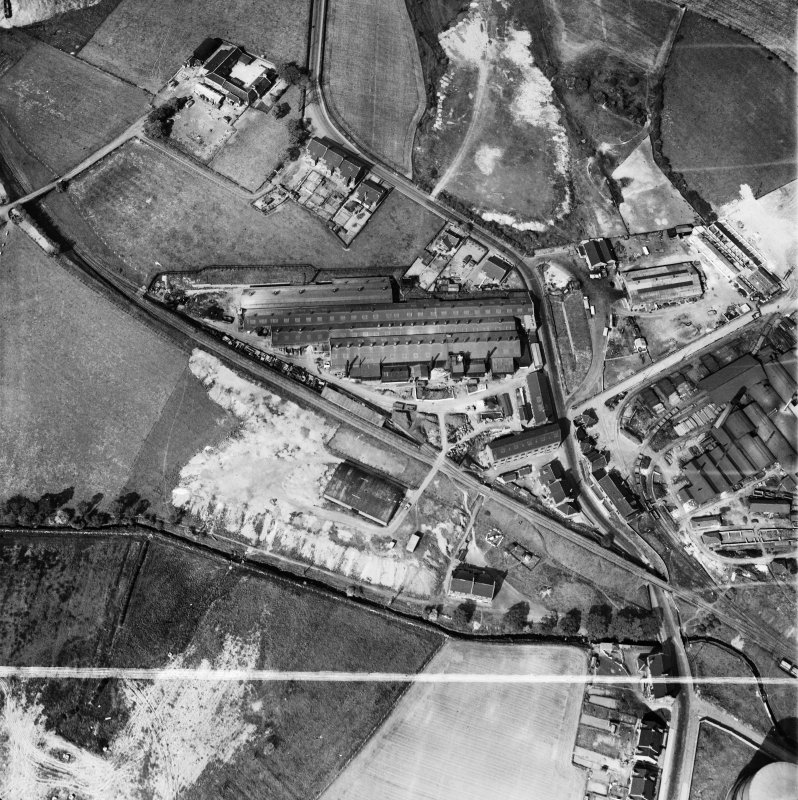 Stewarts and Lloyds Ltd. Works, Waverley Street, Coatbridge.  Oblique aerial photograph taken facing north-east.  This image has been produced from a crop marked negative.