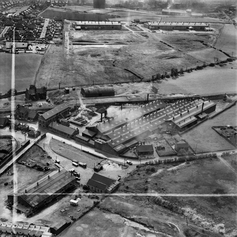 Stewarts and Lloyds Ltd. Works, Waverley Street, Coatbridge.  Oblique aerial photograph taken facing west.  This image has been produced from a crop marked negative.