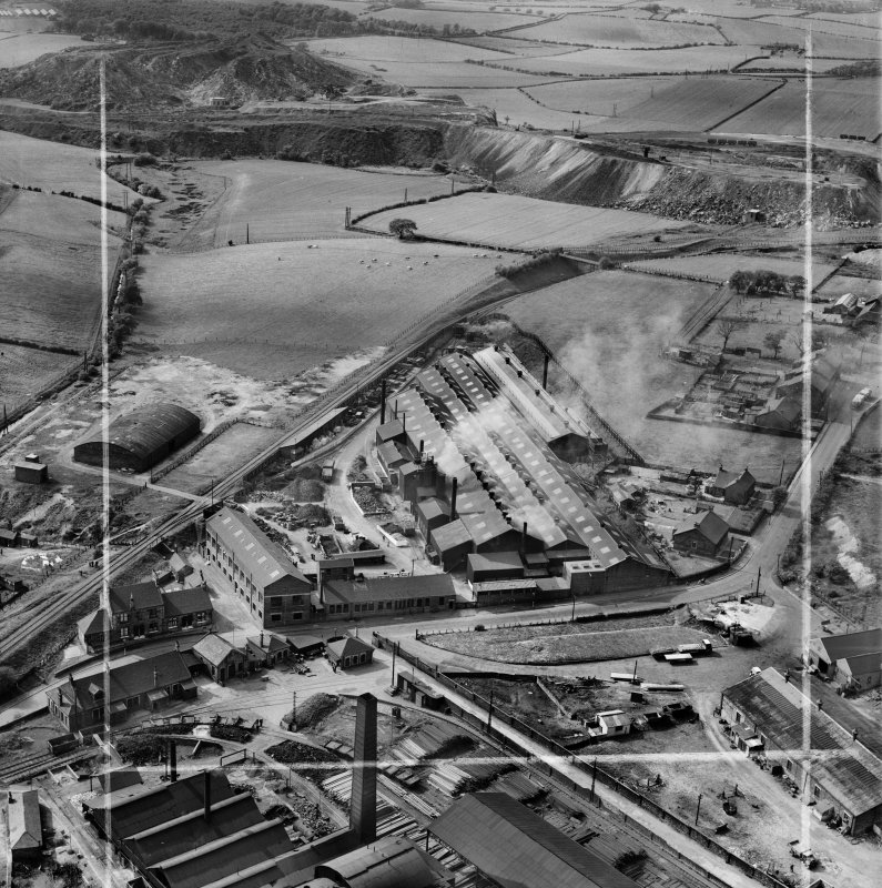 Stewarts and Lloyds Ltd. Works, Waverley Street, Coatbridge.  Oblique aerial photograph taken facing north-west.  This image has been produced from a crop marked negative.