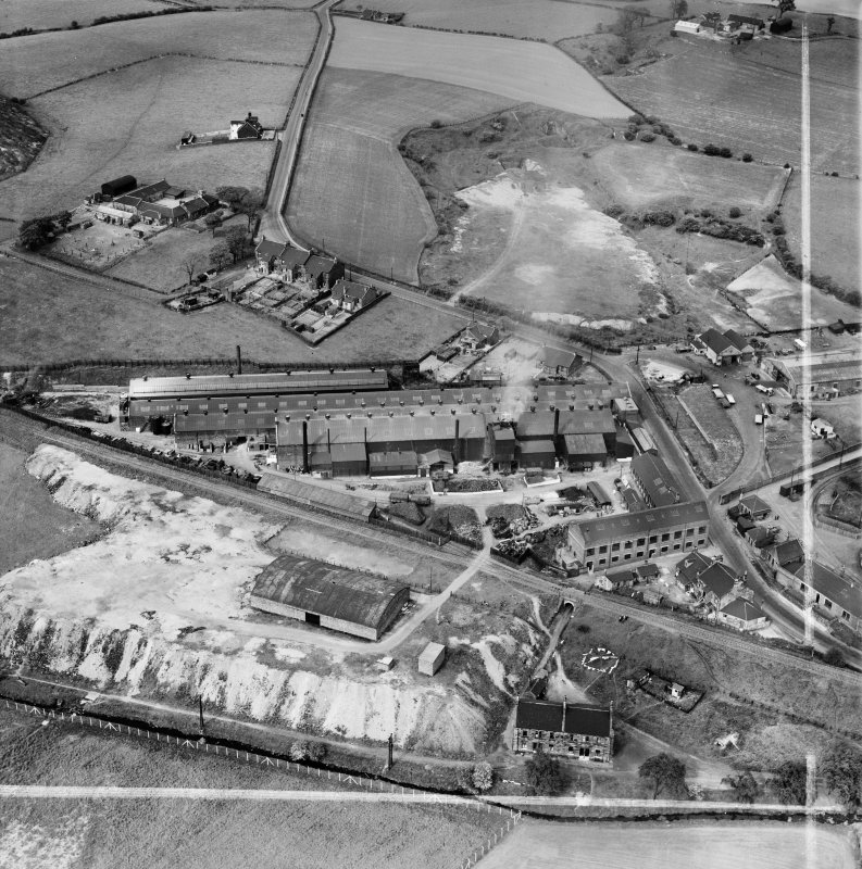 Stewarts and Lloyds Ltd. Works, Waverley Street, Coatbridge.  Oblique aerial photograph taken facing north.  This image has been produced from a crop marked negative.