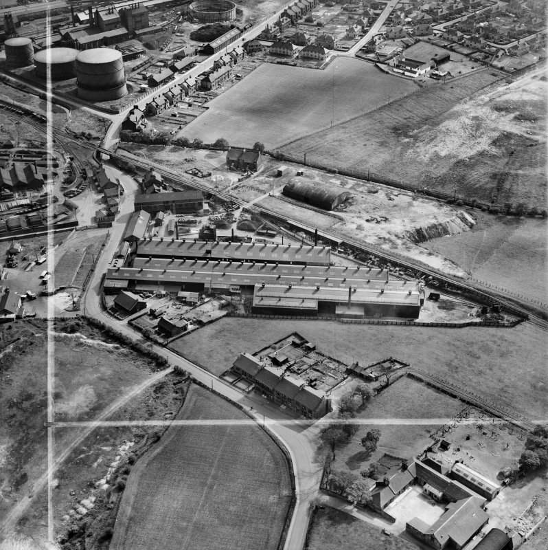 Stewarts and Lloyds Ltd. Works, Waverley Street, Coatbridge.  Oblique aerial photograph taken facing south.  This image has been produced from a crop marked negative.
